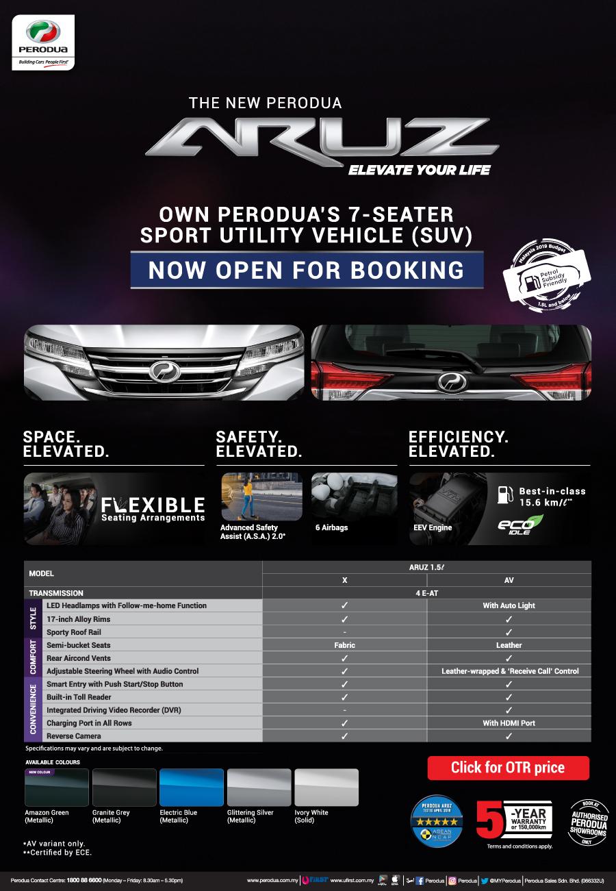 2019 Perodua ARUZ 1.5L 7-Seater SUV