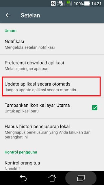 Cara menonaktifkan auto update aplikasi android tahap 3