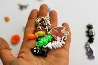 Halloween Theme ABC trinkets by TomToy, objects for alphabet I Spy Bag, mix of miniatures, charms, beads, buttons