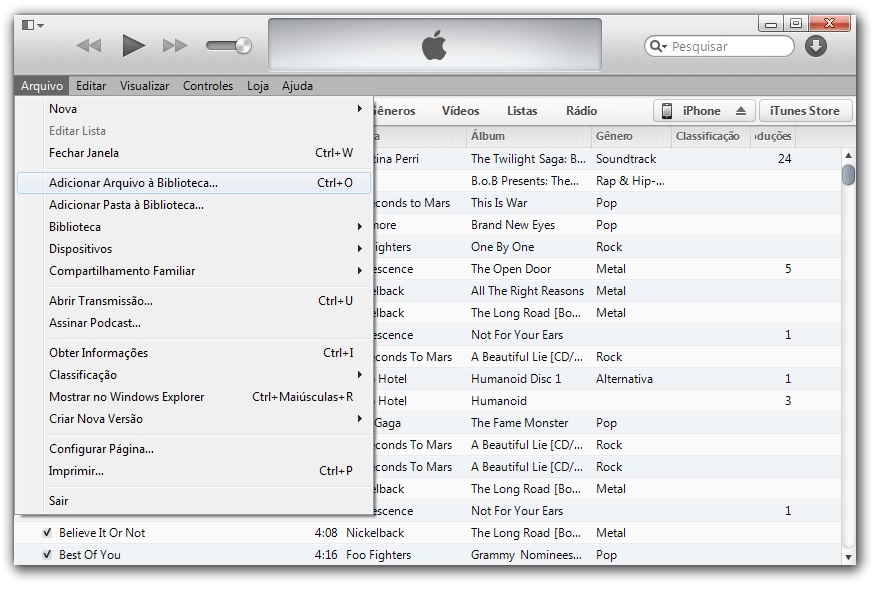 como transferir musicas do pc para o iphone no itunes