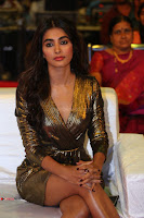 Pooja Hegde looks glamarous in deep neck sleevless short tight golden gown at Duvvada Jagannadham thank you meet function 162.JPG