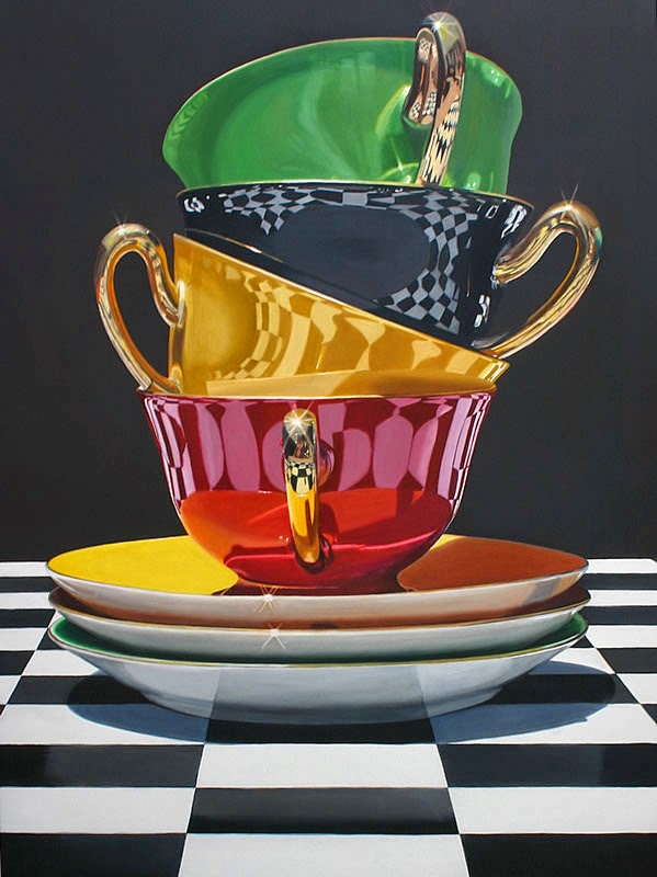 02-Towering-Teacups-Daryl-Gortner-Reflections-in-Art-Photo-Realistic-Paintings-www-designstack-co