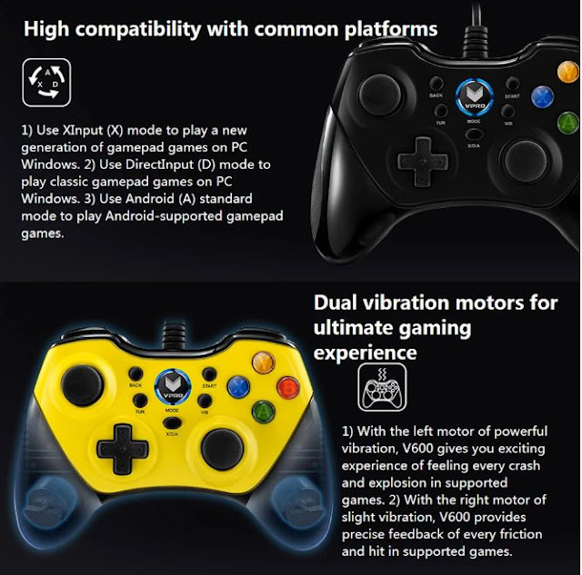 RAPOO V600 Wired Gaming Gamepad Universal Ergonomic Vibration Shock Computer Game Controller Gamepad - Yellow