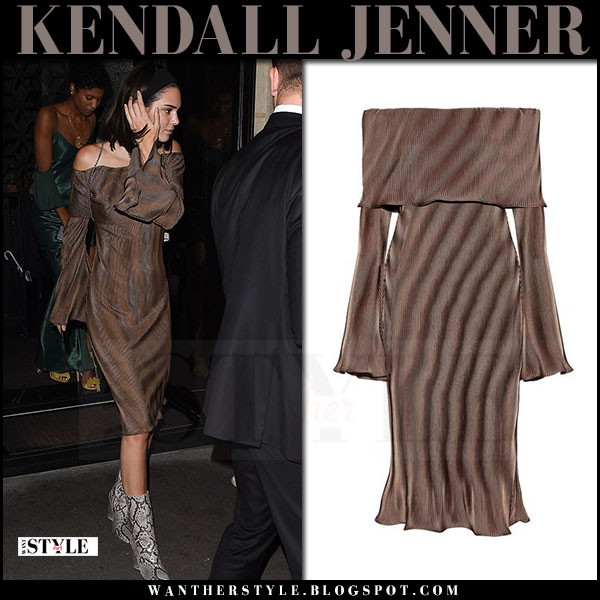 Kendall Jenner in brown bronze off shoulder dress beaufille andura what she wore july 3 2017 paris fashion week