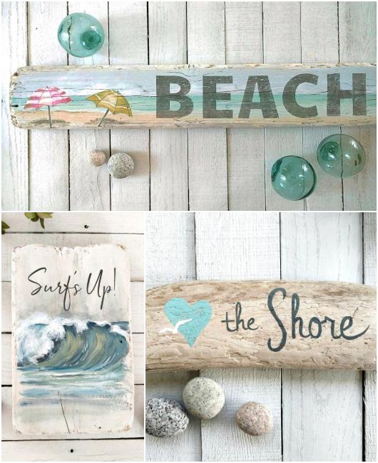 Coastal Beach Art Seaside Paintings on Wood