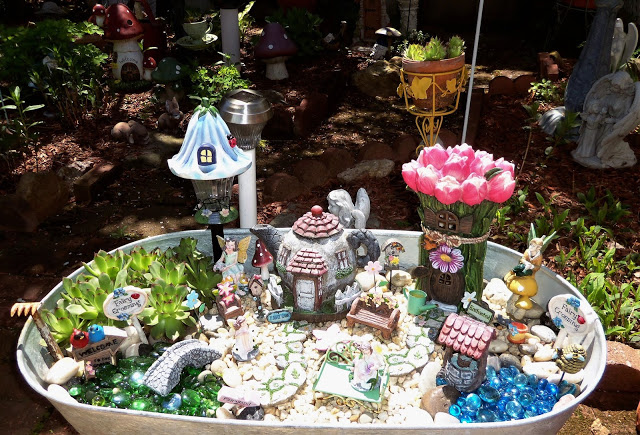 Fairy Garden in a Galvanized Tub