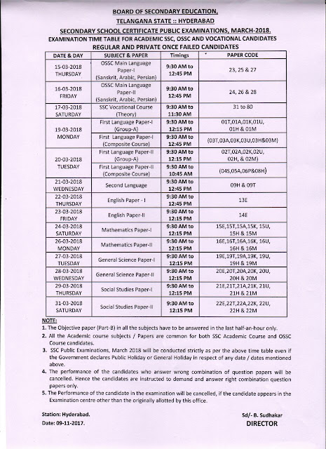 TS SSC Public Examinations Time Table March,2018