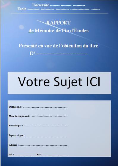 Docx Modèle Page De Garde Pour Un Rapport De Pfe