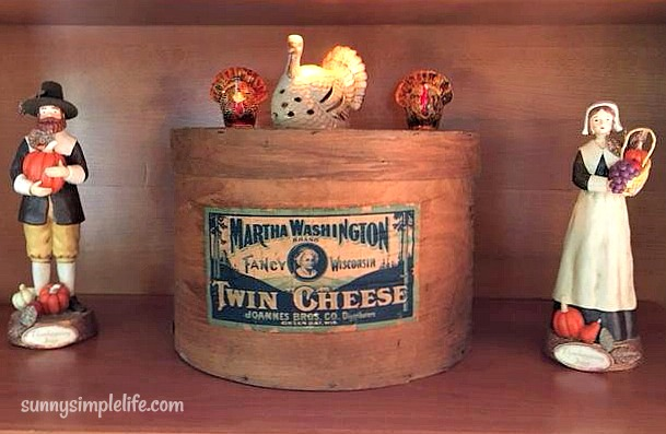 antique cheese box, pilgrim couple