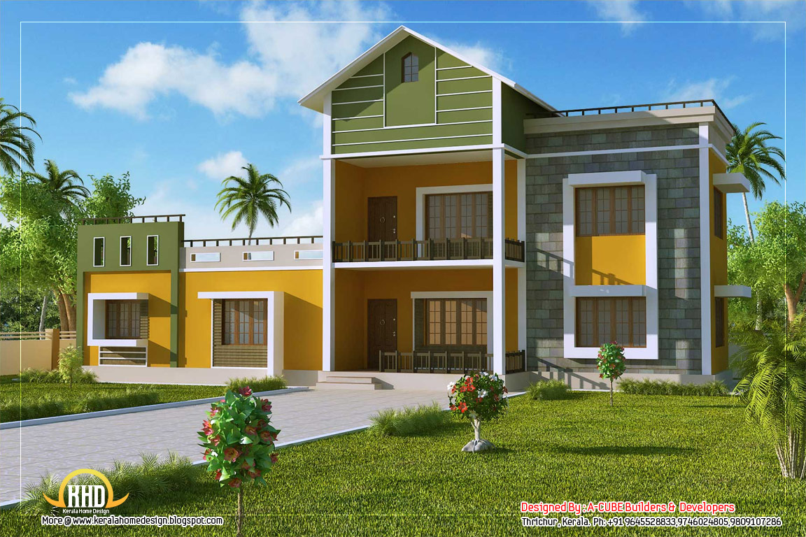 2 story sloping roof house 1700 sq ft kerala home for Two storey house plans in kerala