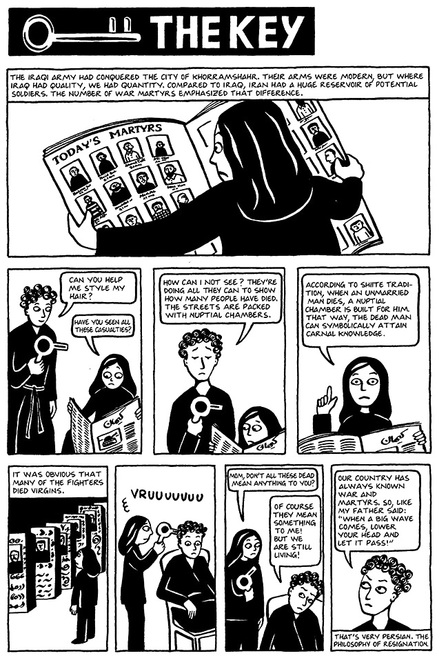 Read Chapter 13 - The Key, page 92, from Marjane Satrapi's Persepolis 1 - The Story of a Childhood