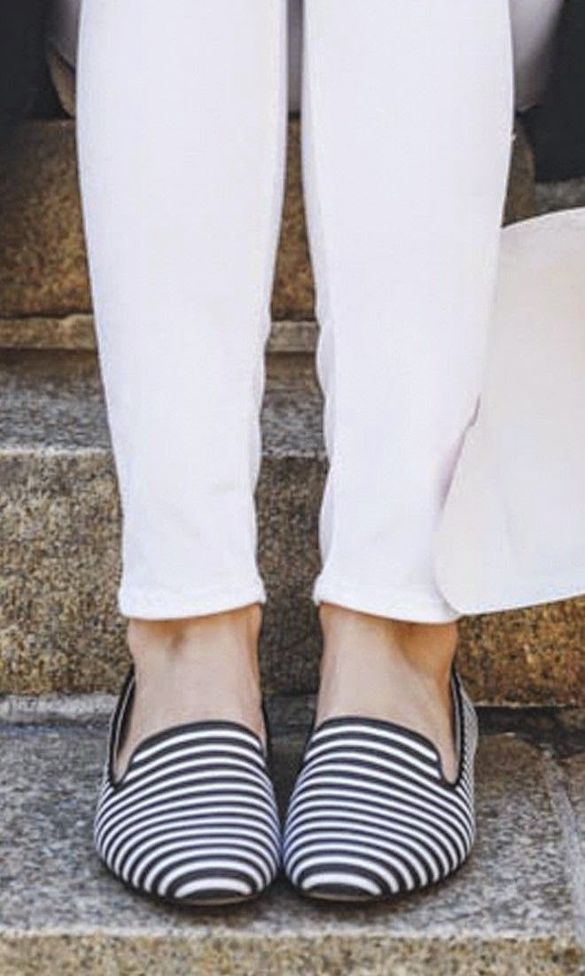 Striped slip-on slippers