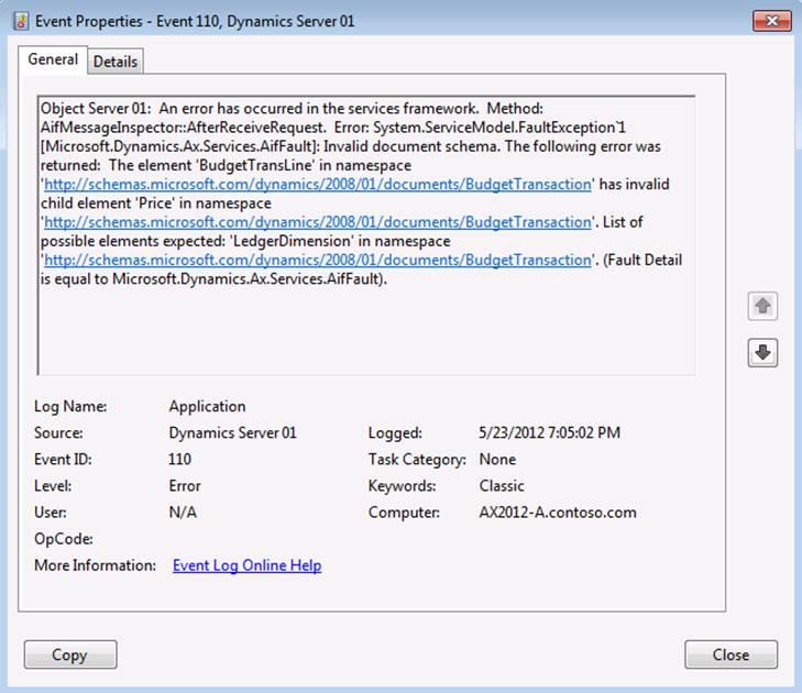 Excel Error Log: Dynamics AX 2012 Data Import Using Excel Add-in: Dynamics