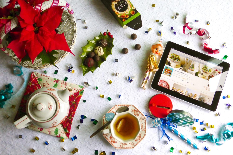 Happy New Year 2018, Etsy Vintage Tea Treasures, vintage ironstone teacup, vintage chinese teapot, Harry and David chocolate truffles, Pure chocolate hazelnut truffles, Christmas teatime, Christmas tea theme, New Year tea time, vintage Christmas Elf