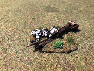 A crashed speederbike terrain piece for Legion