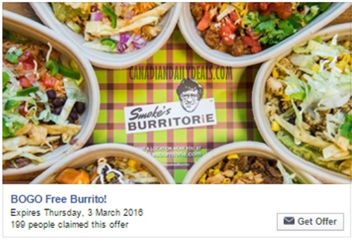 Smoke's Burritorie BOGO Buy 1 Get 1 Free Burrito Coupon