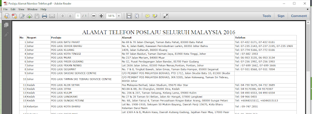 Alamat dan nombor telefon POSLaju seluruh Malaysia dalam bentuk PDF contact