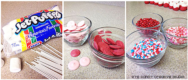 supplies needed to make marshmallow pops, jet puffed marshmallows