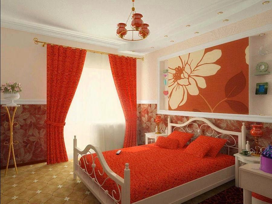 Bon Bedroom Design Ideas   Red Curtains And Bed