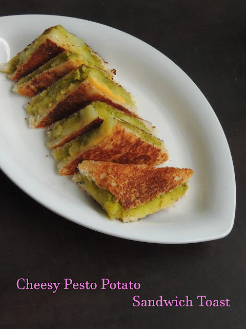 Cheese pesto Sandwich with potato, Potato pesto cheese sandwich toast