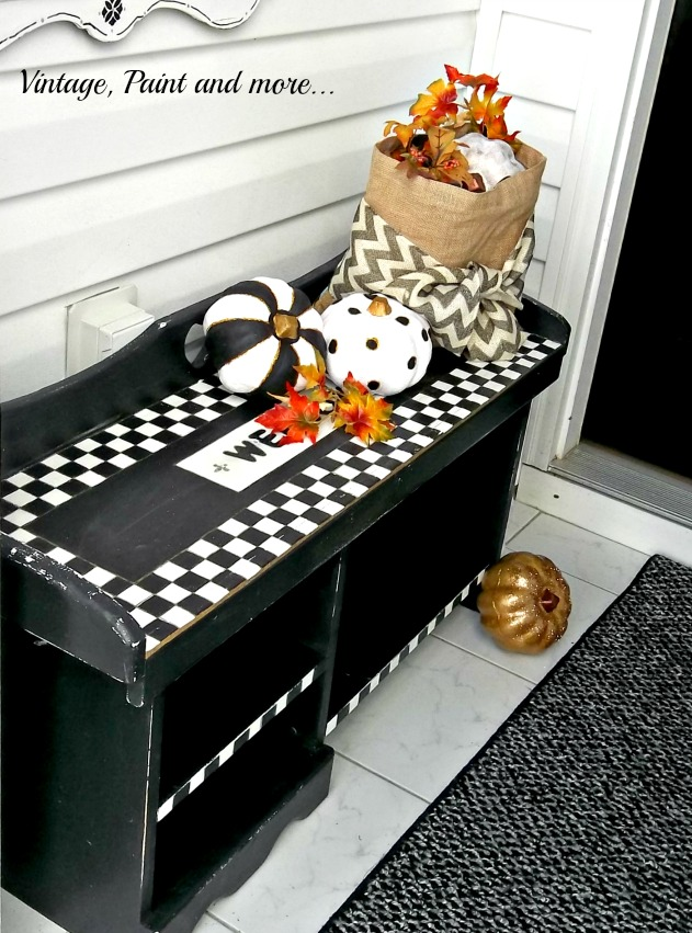 Vintage, Paint and more... whimsical fall entry done with black, white and gold pumpkins and burlap bag