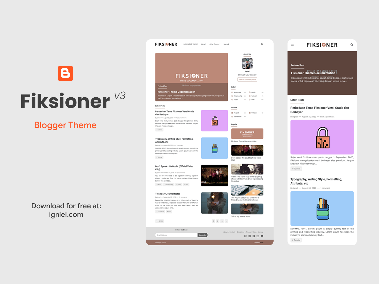 Fiksioner Free Blogger Theme for Personal Blogging