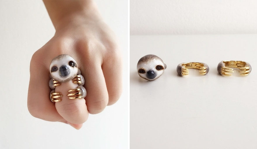 06-Grey-Sloth-Mary-Lou-Three-Piece-Animal-Jewellery-Rings-www-designstack-co