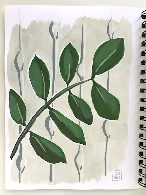 daily painting in gouache of leaves against a patterned background - by Amy Lamp