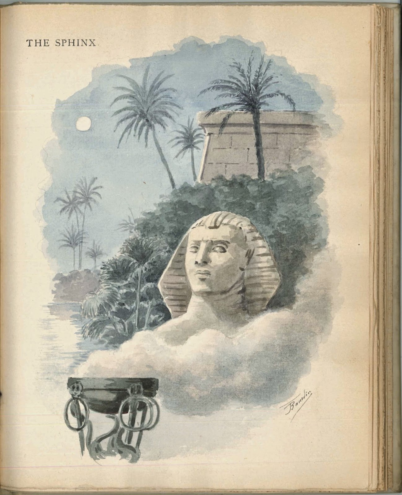 A full-page illustration of the head of the sphinx in front of greenery and a higher structure.