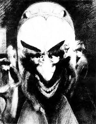 Bir yapının kemeri altında konuşan bayanları gösteren bir çizim aynı zamanda korkunç bir adam gülüşü göstermesi