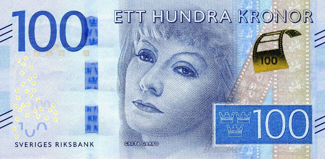 Sweden Currency 100 Krona banknote 2016 Hollywood Actress Greta Garbo, one of the greatest Hollywood film stars of the 1920s and 1930s
