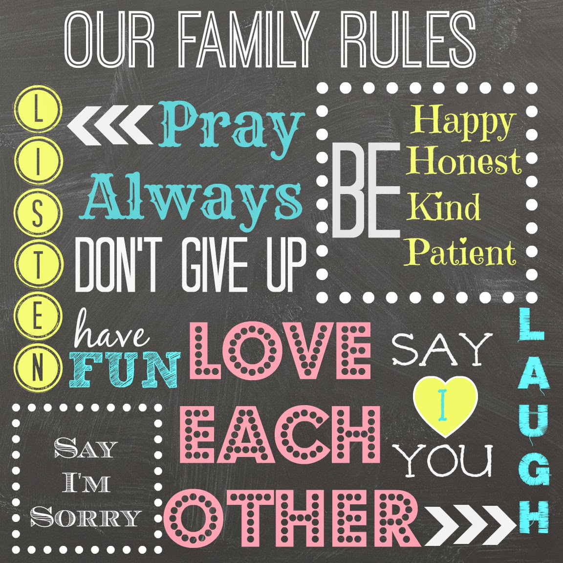 Mimi Lee Printables Amp More Family Rules Free Printable