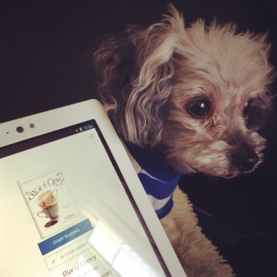 Murchie peeks out from behind a white Kobo with the Scribd landing page for Slice of Cherry on its screen. The page features the book's cover--two stacked teapots with a splash of red dripping out of them--above buttons that read Start Reading and In Your Library.