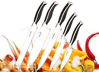 Stainless Steel Kitchen Knife Set by Bluesim (5-piece)