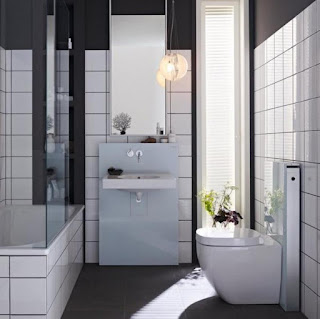 contemporary small bathroom design mixed with floating vanity sink and glass pendant lamp shade also futuristic toilet