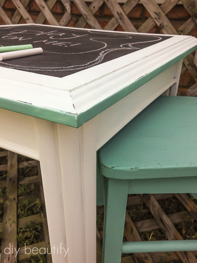 painted table and chairs for child
