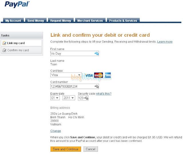 Verify tài khoản Paypal bằng thẻ VISA bước 1