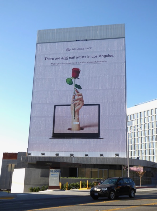 Giant SquareSpace nail artists billboard