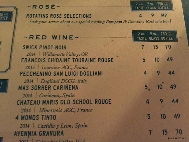 photo of the bottlehouse red wine and rose menu