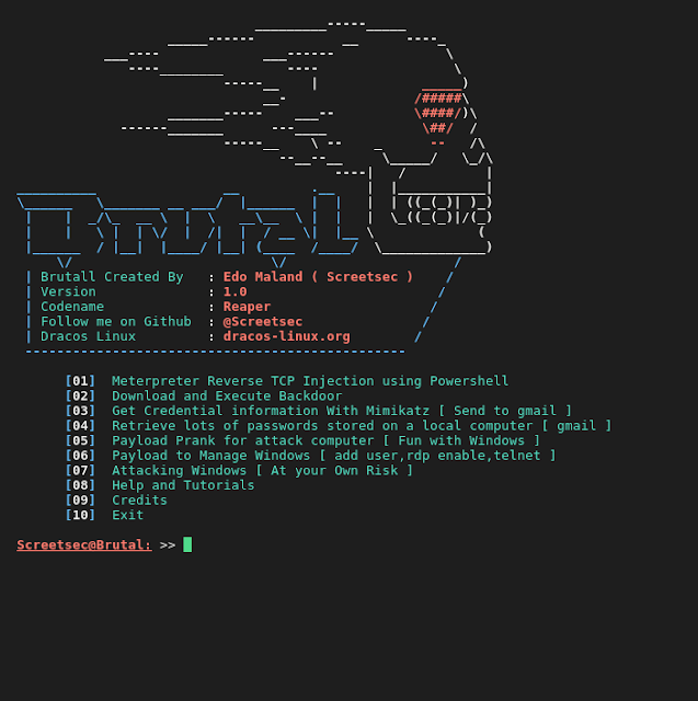 Brutal - Toolkit to quickly create various Payload, PowerShell Attack, Virus Attack and Launch Listener for a HID