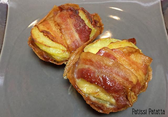 gâteaux de pommes de terre et bacon, pommes de terre, bacon, muffins pommes de terre et bacon, bacon fumé, plat principal, recette de pommes de terre, patissi-patatta