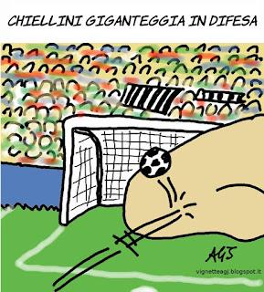 Chiellini, calcio, sport, umorismo, euro 2016, italia spagna, vignetta