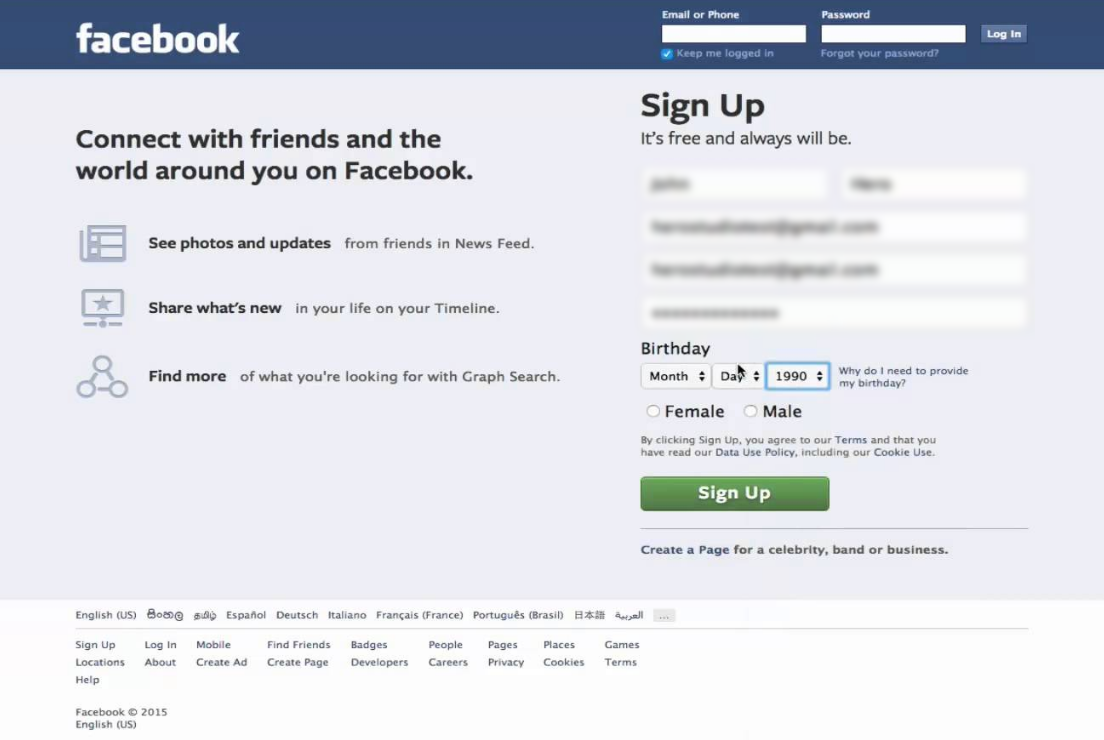 Facebook Log-in Page 2015