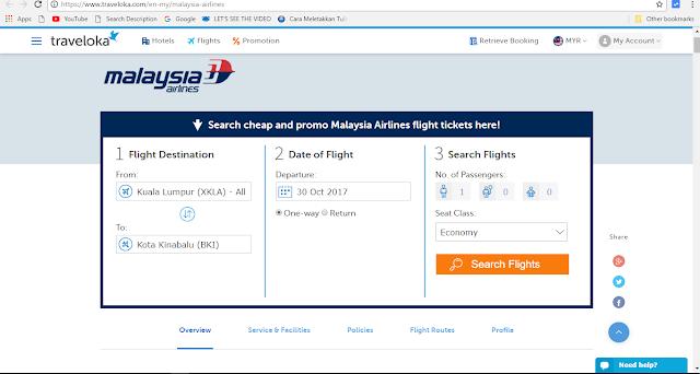 Jom Melancong Dengan Malaysian Airline Melalui Online Booking