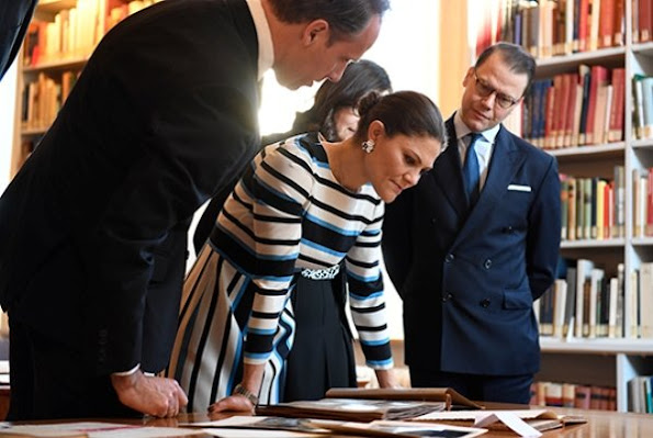 Crown Princess Victoria wore Dolce and Gabbana dress, By Malene Birger shoes, gold earrings