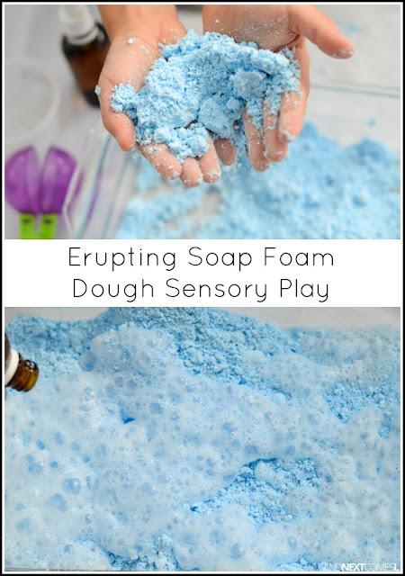 Combine sensory play with science with this erupting soap foam dough sensory play recipe for kids from And Next Comes L