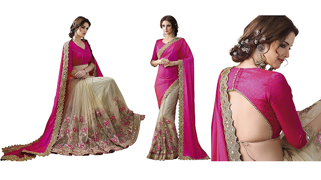 Kataria Fashion Embroidered Fashion Chiffon, Net Saree  (Pink, Beige)