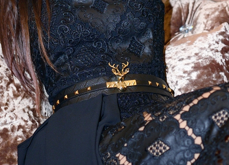Euriental | fashion & luxury travel | black lace dress with gold stag head belt