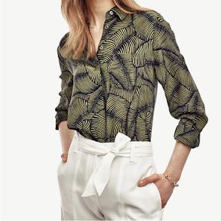 Light and dark green palm leaf print silk blouse