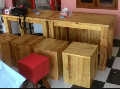 kursi cafe kayu pinus